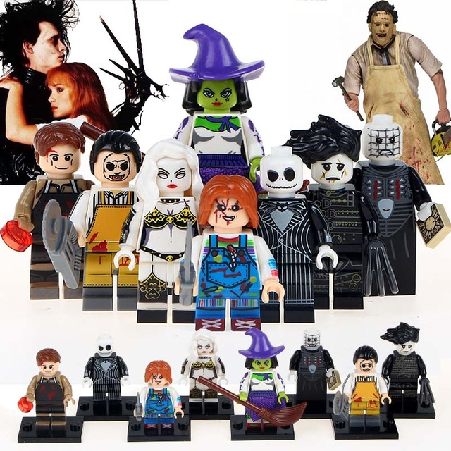 Building Blocks 10Lots of WM6012 Dexter Morgan Creepy Doll Edward Texas Chainsaw Witch Lady Death Horror Movie Massacre Kid Toy
