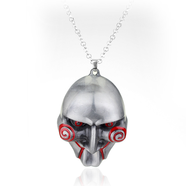 movie Mask necklace Saw Horror movies theme Saw mask original color metal pendant necklace