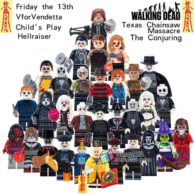 Single Sale Horror Movie Figures Zombies Ghost Walking Corpse Jason Voorhees Building Blocks Friday the 13th Toys For Children