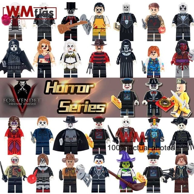 Legoingly Jason Voorhees Hockey Mask Guy Minifigs Pennywise Horror Movie Building Blocks Bricks Model Gifts Toys for Children