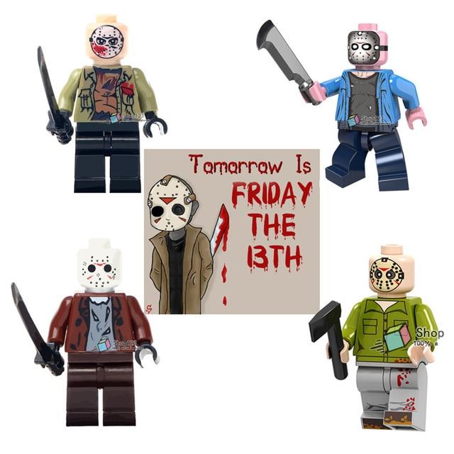 Legoing Figures Horror Movie Jason Voorhees Friday the 13th Walking Dead Super Heroes Building Blocks Bricks Toys For Children