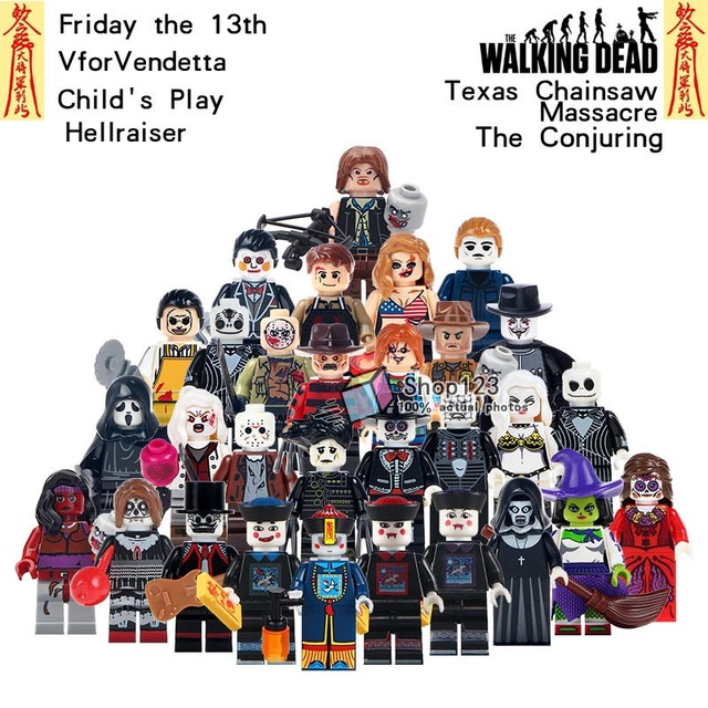 Legoings Horror Movie Day Of The Dead Jason Voorhees The Walking Dead Zombie Ghost Woman Skeleton Building Blocks Children Toys