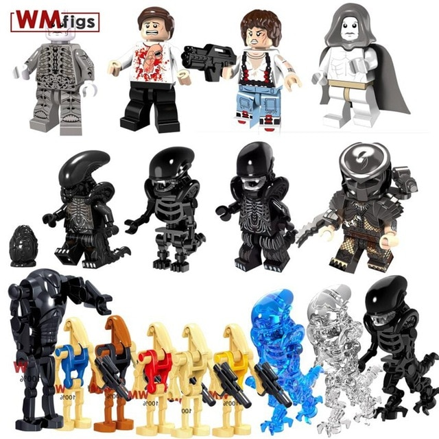 Single Legoingly Alien VS Predator Horror Movie Theme Minifig Halloween Prometheus Brick Model Building Blocks Toys for Children