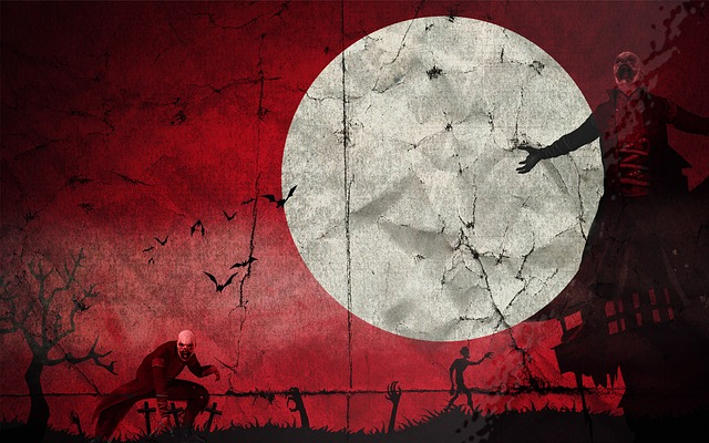 horror movie, illustration, moon