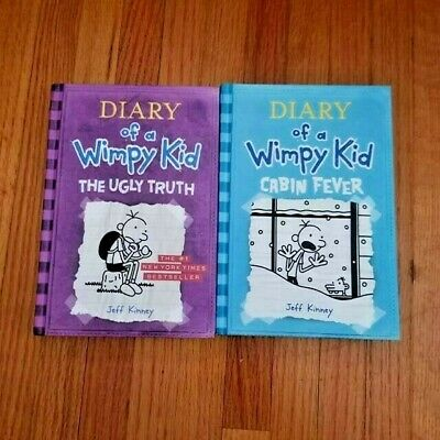 Lot of 2 DIARY OF A WIMPY KID Books by Jeff Kinney The Ugly Truth, Cabin Fever